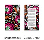 embroidery style flyer with... | Shutterstock .eps vector #785032780