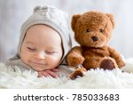 sweet baby boy in bear overall  ... | Shutterstock . vector #785033683