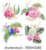 collection bouquets of tropical ... | Shutterstock .eps vector #785043280