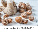 Mushrooms And Onion In White...