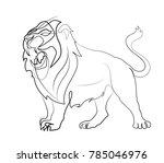 lion roar. line art. modern... | Shutterstock .eps vector #785046976