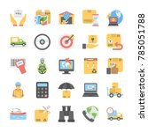 flat vector icons collection... | Shutterstock .eps vector #785051788