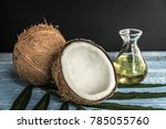 fresh coconuts on old wooden... | Shutterstock . vector #785055760