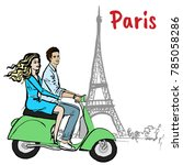 couple driving scooter in paris.... | Shutterstock .eps vector #785058286