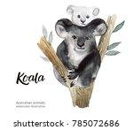australian animals watercolor... | Shutterstock . vector #785072686
