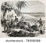 Old illustration of British soldiers defending against insurgents near Delhi. Created by Janet-Lange, published on L