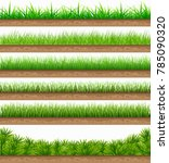 set of green grass with a... | Shutterstock .eps vector #785090320