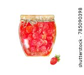 strawberry jam. traditional...   Shutterstock . vector #785090398