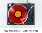 turntable vinyl record player... | Shutterstock . vector #785091598