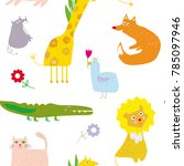 animals seamless pattern  funny ... | Shutterstock .eps vector #785097946