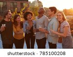 friends drinking and laughing... | Shutterstock . vector #785100208