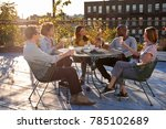 friends talking on a new york... | Shutterstock . vector #785102689