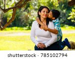 mother and son outdoor... | Shutterstock . vector #785102794