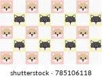 Stock vector wallpaper with kitten pattern 785106118