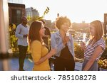 female friends talking at a... | Shutterstock . vector #785108278