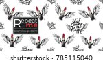 hand drawn graphic flying you... | Shutterstock .eps vector #785115040