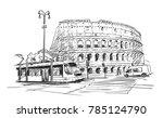 sketch of tram in front of... | Shutterstock .eps vector #785124790