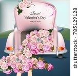 vintage retro car with rose... | Shutterstock .eps vector #785129128