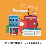 travel and tourism concept.... | Shutterstock .eps vector #785136853