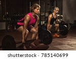 athletic couple working out at... | Shutterstock . vector #785140699