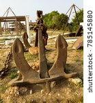 vintage rusty anchor and... | Shutterstock . vector #785145880
