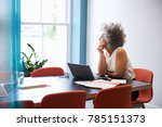 middle aged woman looking out... | Shutterstock . vector #785151373
