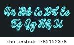 vector hand lettering neon... | Shutterstock .eps vector #785152378