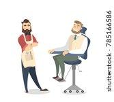 people at barber shop. visitor... | Shutterstock .eps vector #785166586