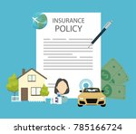 insurance policy document with... | Shutterstock .eps vector #785166724