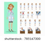 doctor woman set. poses and... | Shutterstock .eps vector #785167300