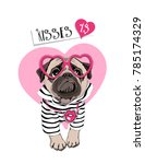 card of a valentine's day. pug... | Shutterstock .eps vector #785174329