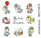 magic cute unicorn set. vector... | Shutterstock .eps vector #785174974
