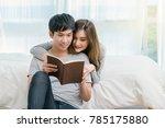 closeup happy asian lover or... | Shutterstock . vector #785175880