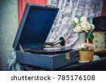 old gramophone with black vinyl ... | Shutterstock . vector #785176108