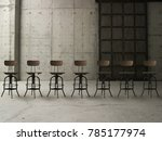 a row of wooden chair and... | Shutterstock . vector #785177974