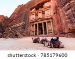 camels in front of the treasury ... | Shutterstock . vector #785179600