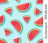 seamless watermelons pattern....   Shutterstock .eps vector #785181163
