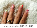 Womans Colored Nails On White...