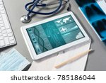 white tablet pc and doctor... | Shutterstock . vector #785186044