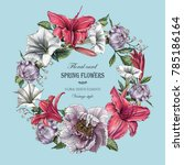 floral greeting card with... | Shutterstock . vector #785186164