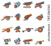 cannon retro icons set. cartoon ...   Shutterstock .eps vector #785186560