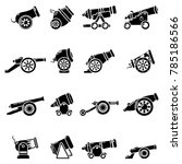 cannon retro icons set. simple... | Shutterstock .eps vector #785186566
