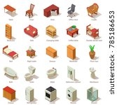 domestic furniture icons set.... | Shutterstock .eps vector #785186653