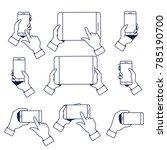 set of hands holding smartphone ... | Shutterstock .eps vector #785190700
