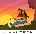 happy lovers sitting in the... | Shutterstock .eps vector #785195254