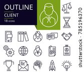 set of outline icons of client. ... | Shutterstock .eps vector #785196370