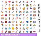 100 marriage icons set cartoon