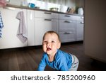 cute baby crawling on the wood... | Shutterstock . vector #785200960