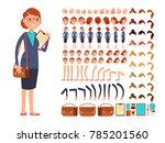 cartoon flat businesswoman... | Shutterstock . vector #785201560