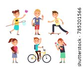 playing children with toys.... | Shutterstock . vector #785201566